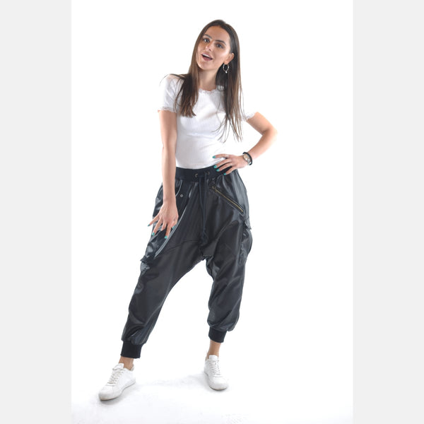 Black Leather Textured Bohemian Harem Cotton Women Pant Trousers Shalwar S-Ponder