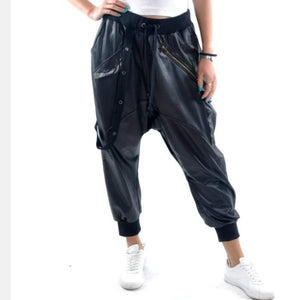 Black Leather Textured Bohemian Harem Cotton Women Pant -