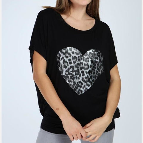 Black Leopard Heart Printed Cotton Women Blouse Top T-shirt S-Ponder