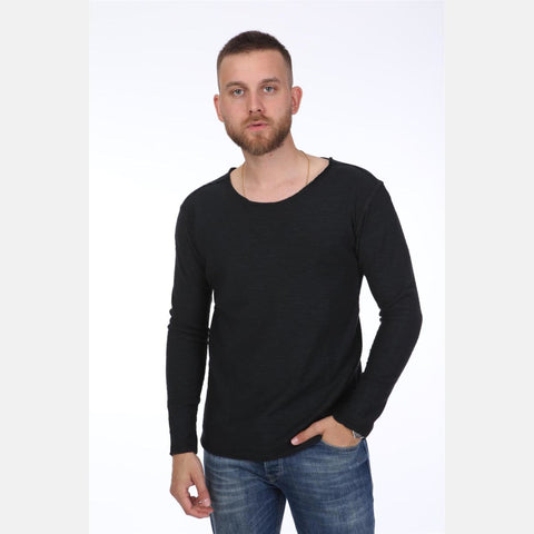 Black Long Sleeve Cotton T-shirt Tee Top S-PONDER