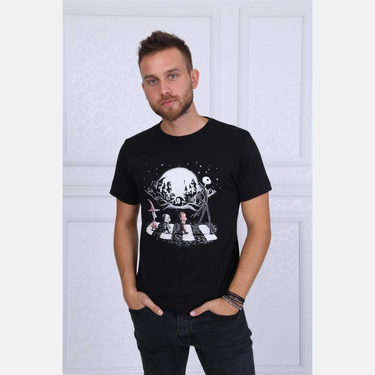 Black The Nightmare Before The Christmas Printed Cotton T-shirt - S-Ponder Shop