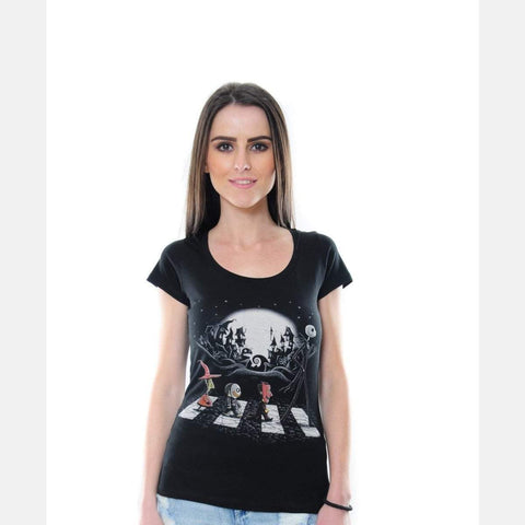 Black Abbey Road Nightmare Movie Printed Cotton Women T-shirt Tee Top S-Ponder