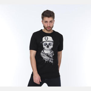 Black Scarf Skull Printed Cotton T-shirt Tee Top S-Ponder