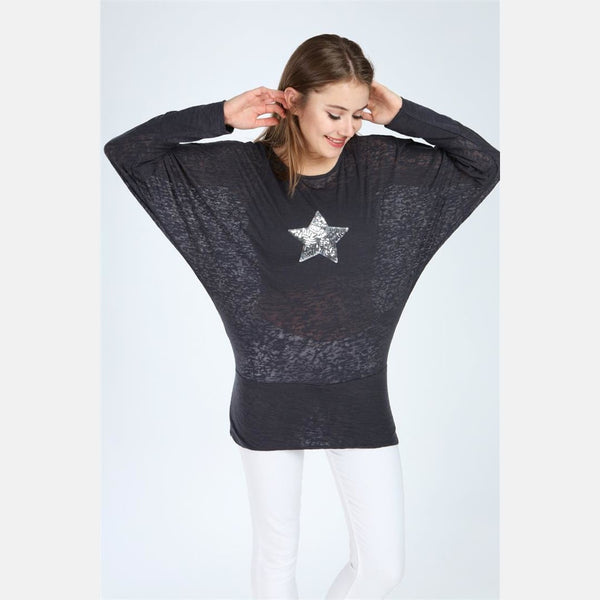 Black Sequin Star Cotton Women Dress Top - S-Ponder Shop -