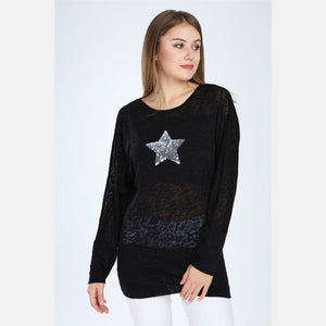 Black Sequin Star Cotton Women Dress Top T-shirt Blouse S-Ponder