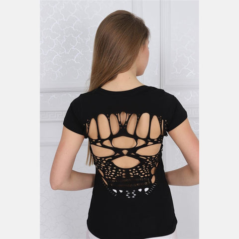 Black Skull Back Cut Out Cotton Women T-shirt Tee Top S-Ponder