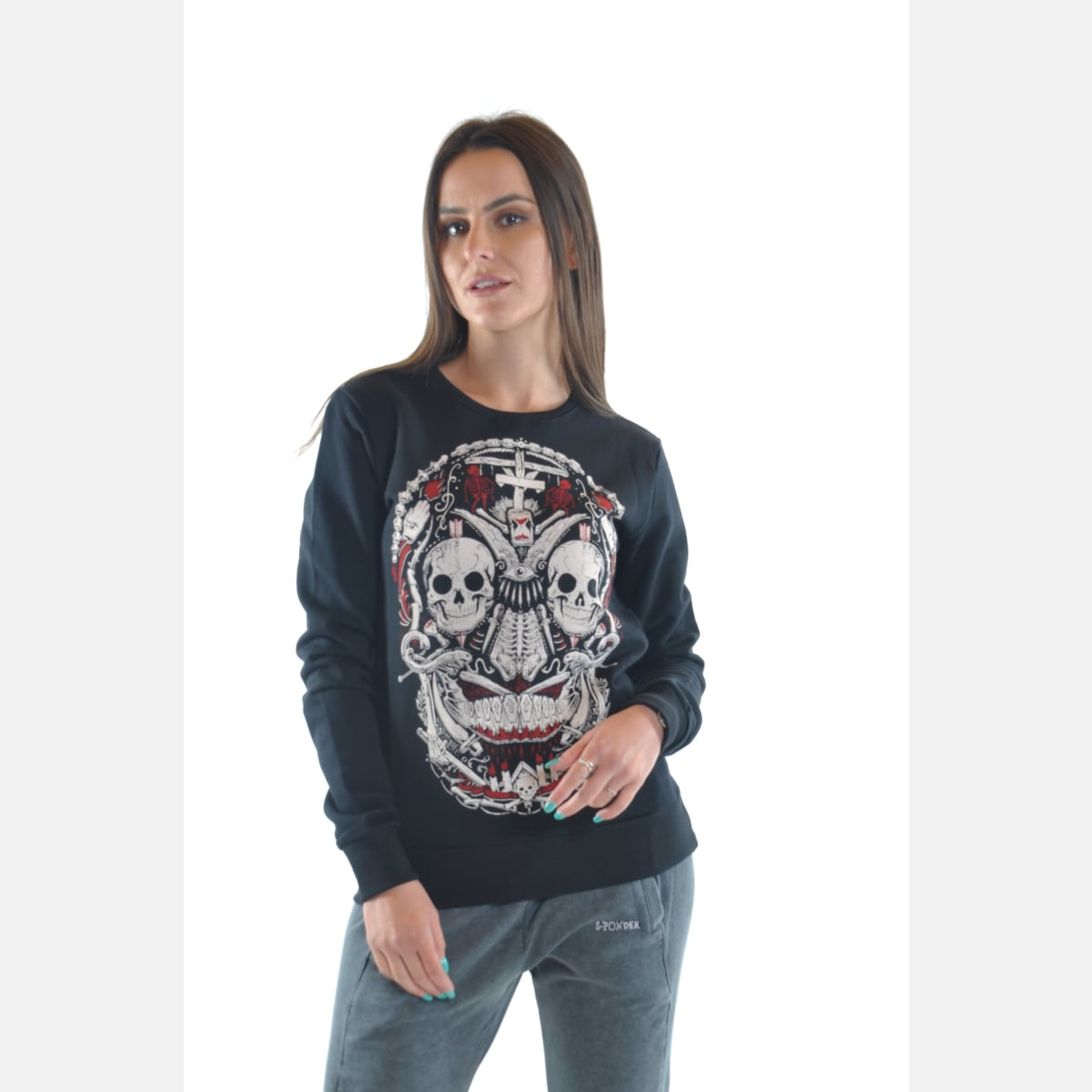 Black Skull Print Cotton Women Sweatshirt Long Sleeve S-Ponder