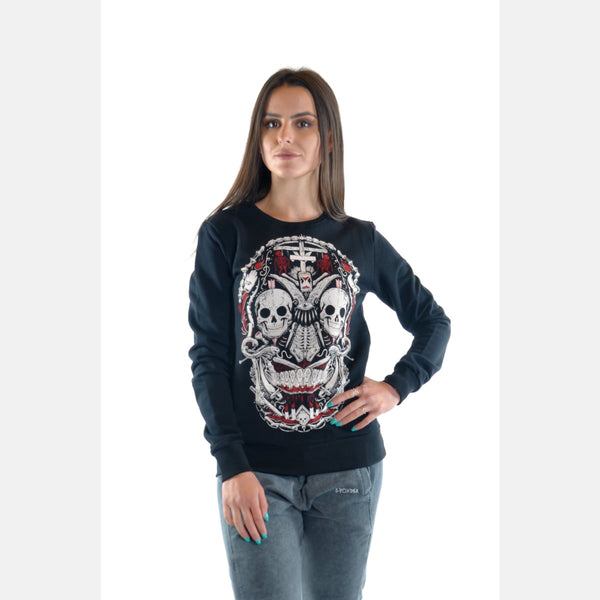 Black Skull Print Cotton Women Sweatshirt - S-Ponder Shop -