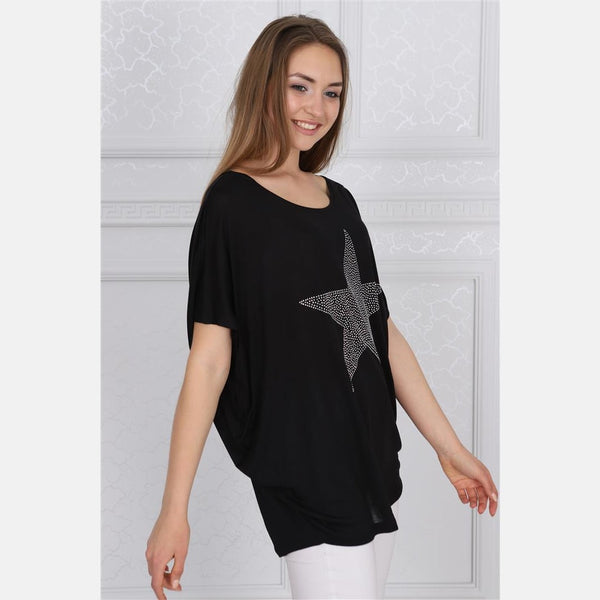 Black Sparkle Star Cotton Women Loose Fit T-Shirt - S-Ponder Shop