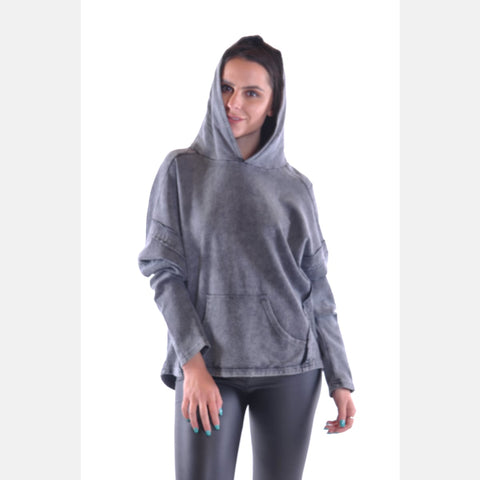 Black Stone Washed Poncho Cut Cotton Women Hoodie - S-Ponder