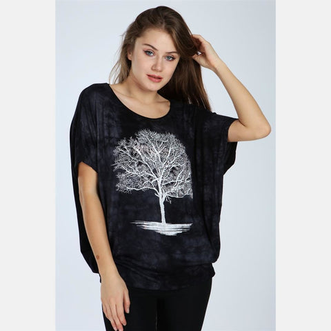 Black Tree of Life Shinny Printed Cotton Women Blouse T-shirt Top Tee S-Ponder
