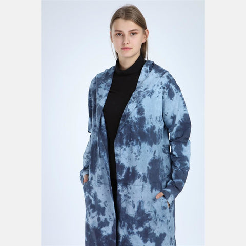 Blue Long Tie Die Cotton Cardigan with Hood S-Ponder