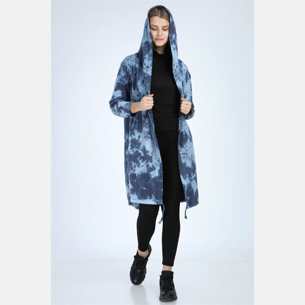Blue Long Tie Die Cotton Cardigan with Hood - S-Ponder Shop