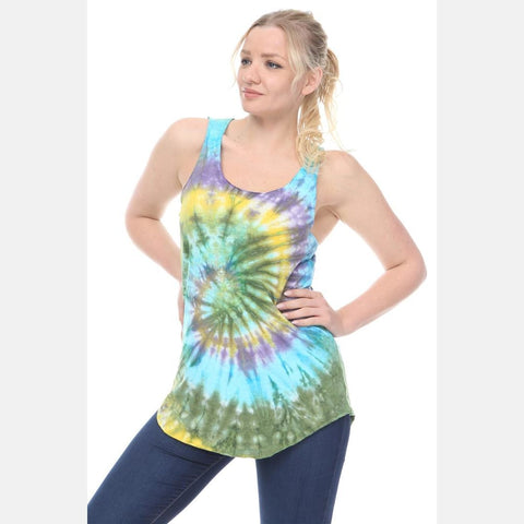Blue Round Tie Dye Cotton Women Vest - S-Ponder Shop