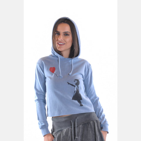 Blue Stone Washed Banksy Balloon Girl Print Cotton Women Hoodie Sweatshirt S-Ponder