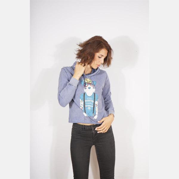 Blue Stone Washed Beardy Dog Printed Cotton Women Crop Top Hoodie - S-Ponder Shop