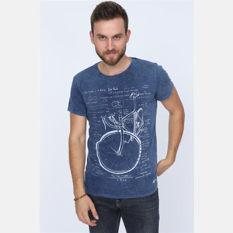 Navy Blue Stone Washed Faded Bicycle Printed Cotton Men Unisex T-shirt Tee Top S-Ponder