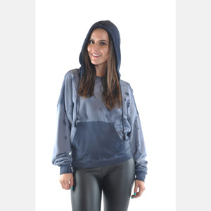 Blue Stone Washed Boyfriend Cut Cotton Hoodie S-Ponder