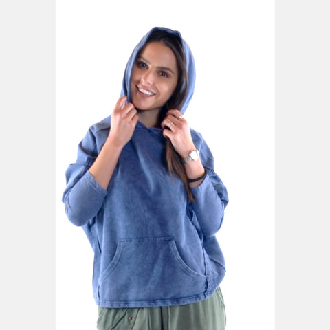 Blue Stone Washed Poncho Cut Cotton Women Hoodie - S-Ponder
