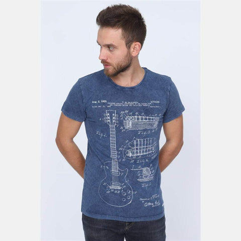 Navy Blue Stone Washed  Faded T.M McCARTY Guitar Patent Printed Cotton T-Shirt Tee Top S-PONDER