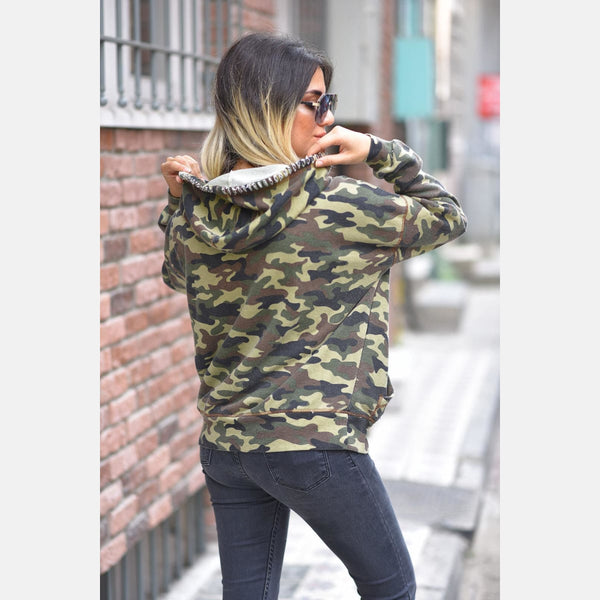 Dark Camouflage Boyfriend Cut Cotton Hoody - S-Ponder Shop -