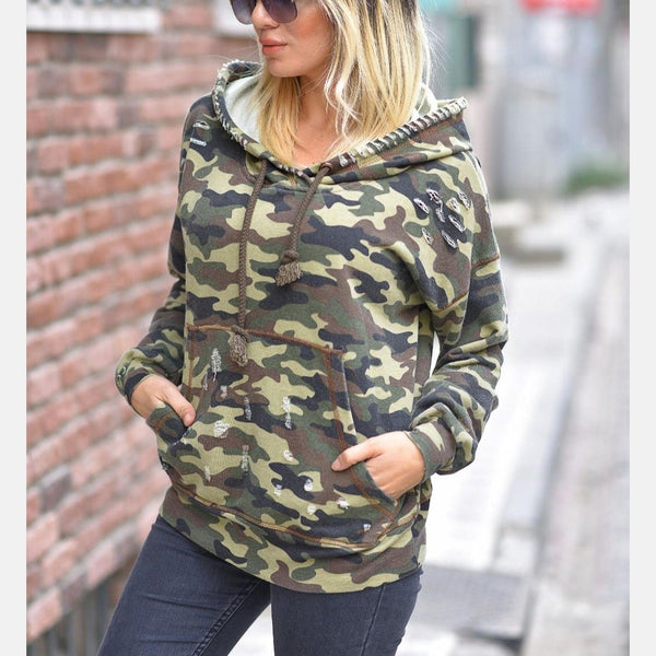 Dark Camouflage Boyfriend Cut Cotton Hoody