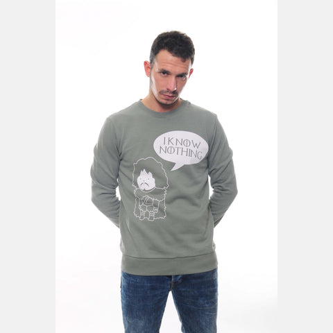 Green I Know Nothing John Snow Printed Cotton Sweatshirt - S-Ponder Shop