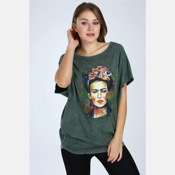 Green Stone Washed Frida Kahlo Printed Cotton Women Top -