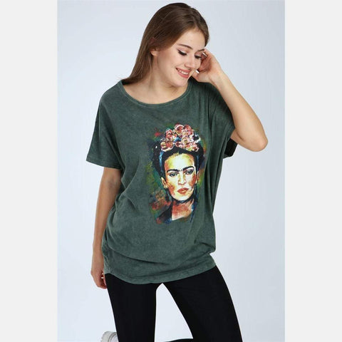 Green Stone Washed Frida Kahlo Printed Cotton Women Top T-Shirt Blouse S-Ponder