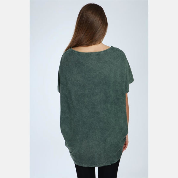Green Stone Washed Heart Cotton Women Top - S-Ponder Shop -