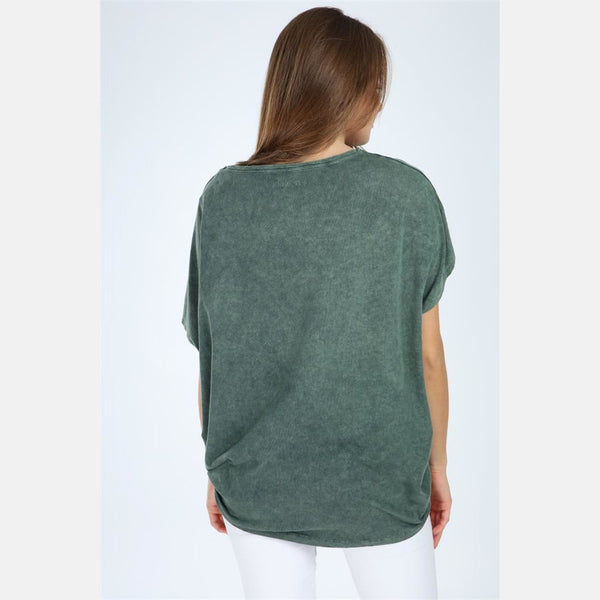 Green Stone Washed Lip Printed Cotton Women Top - S-Ponder