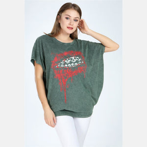 Green Stone Washed Lip Printed Cotton Women Top T-shirt Blouse S-Ponder