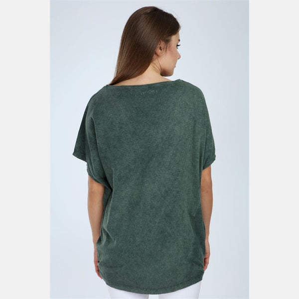 Green Stone Washed Love Cotton Women Top - S-Ponder Shop -