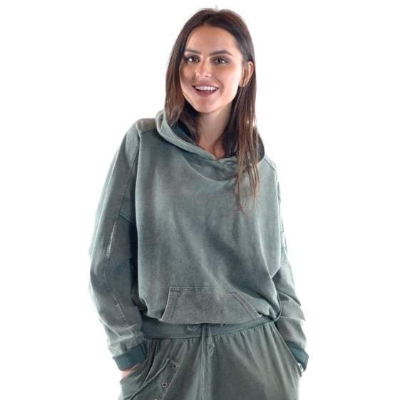 Green Stone Washed Poncho Cut Cotton Women Hoodie S-Ponder