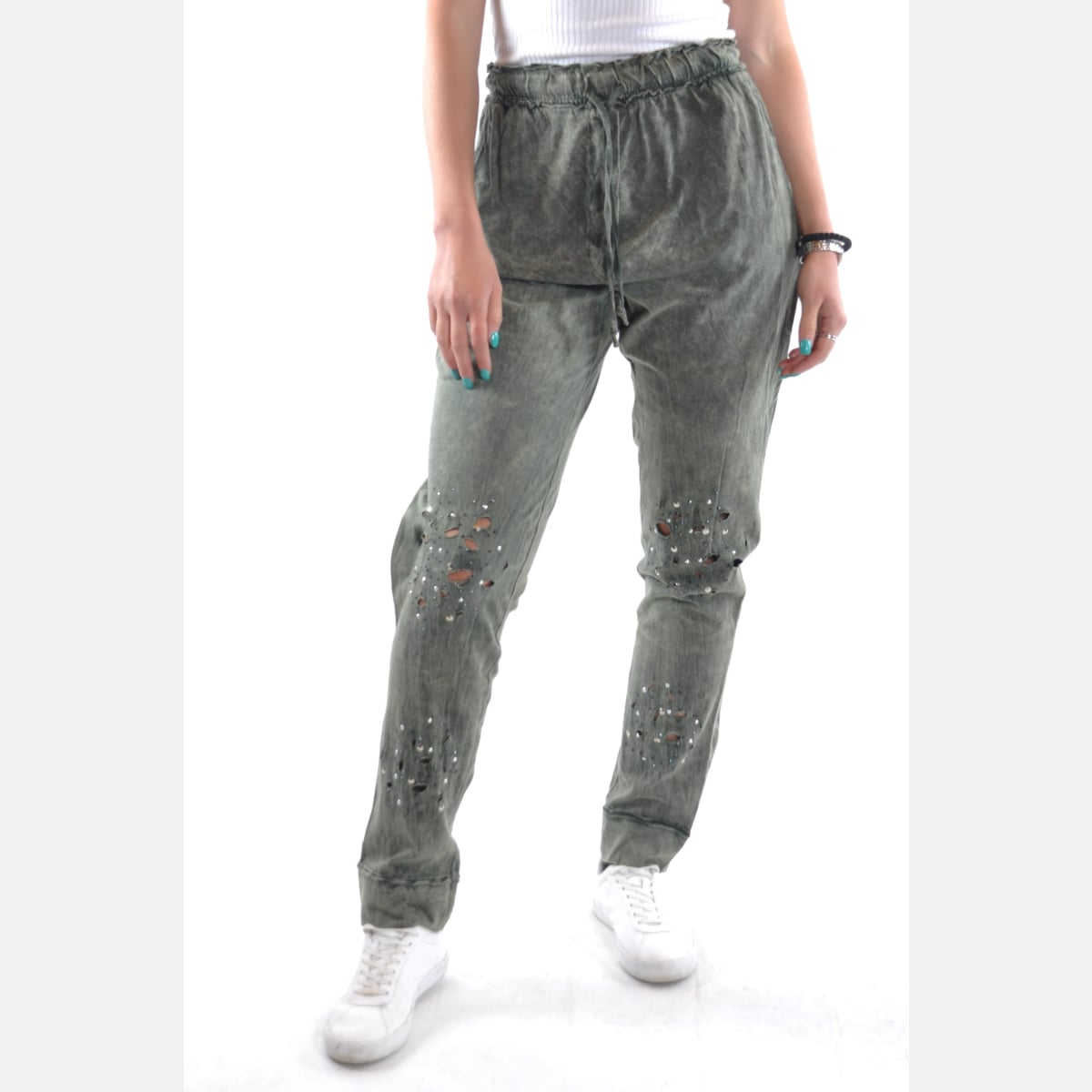 Green Stone Washed Shinny Stone Cotton Women Jogger Pants Trousers S-Ponder