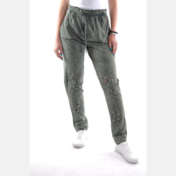 Green Stone Washed Shinny Cotton Women Jogger - S-Ponder