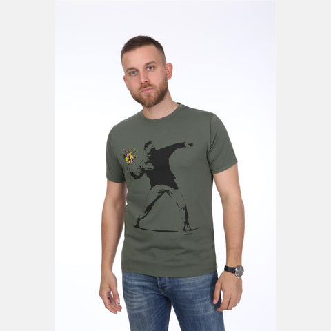 Green The Flower Bomb Thrower by Banksy Printed Cotton T-Shirt - S-Ponder Shop