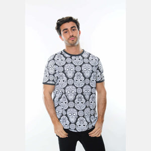 Grey Full Mexican Skull Printed Cotton T-Shirt - S-Ponder Shop