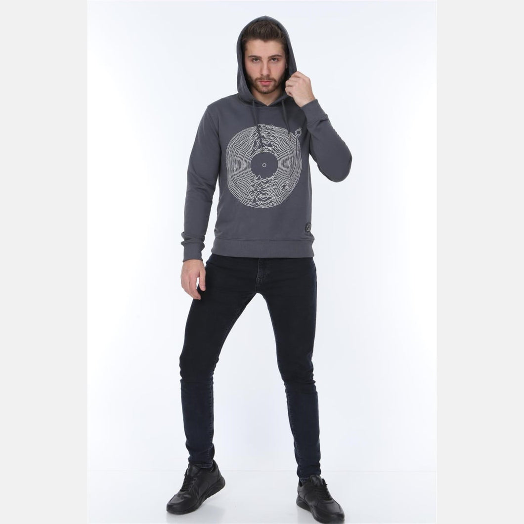 Grey Joy Division Printed Cotton Hoodie - S-Ponder Shop