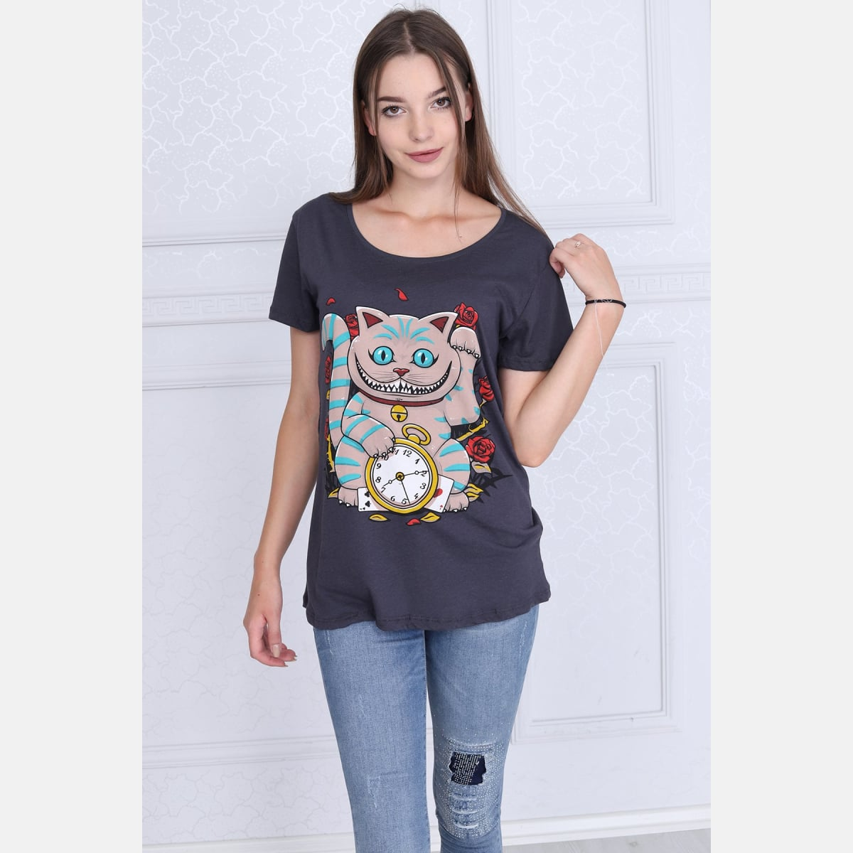 Grey Maneki Cat Printed Cotton Woman T-Shirt - S-Ponder Shop