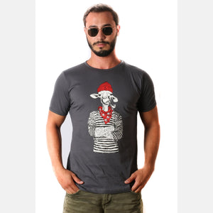 Grey Red Hat Camel Animal Printed Cotton T-shirt - S-Ponder