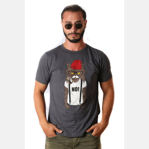 Grey Red Hat Cat Animal Printed Cotton T-shirt - S-Ponder