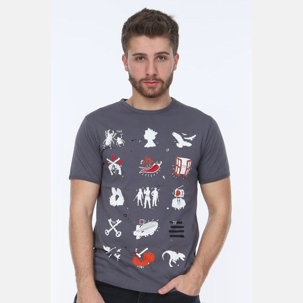 Grey Rock & Roll Printed Cotton T-Shirt - S-Ponder Shop -