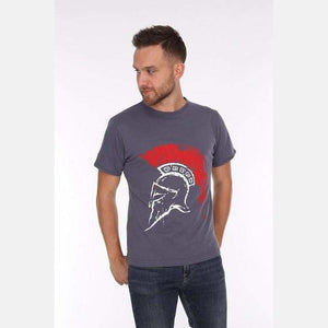 Grey Roman Helmet Printed Cotton T-shirt - S-Ponder Shop