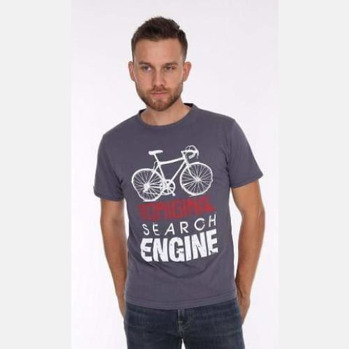 Grey Search Engine Bicycle Printed Cotton T-shirt - S-Ponder Shop
