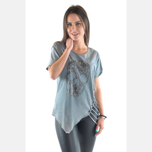 Grey Skull Print Side Cut Off Cotton Women T-Shirt -