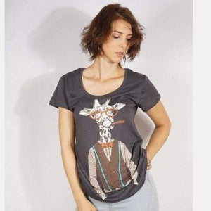 Grey Smoking Giraffe Funny Animal Printed Cotton Women T-shirt - S-Ponder Shop