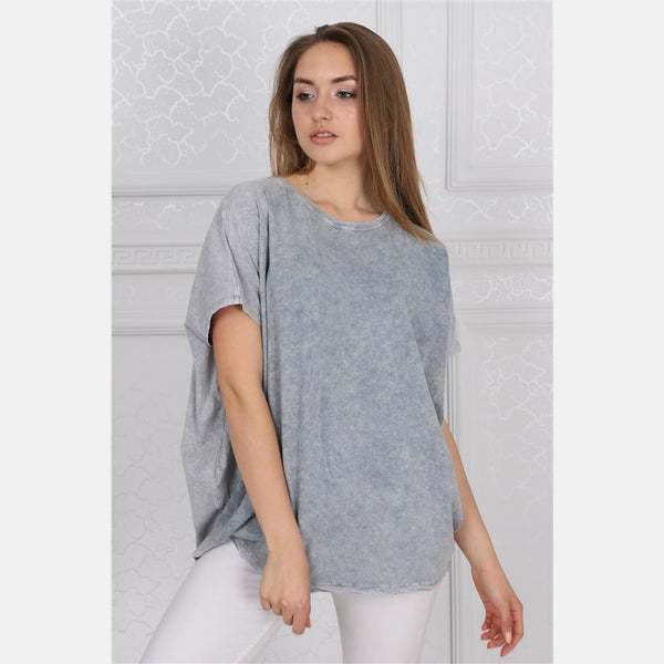Grey Stone Washed Angel Wings Printed Cotton Women Balloon T-Shirt - S-Ponder Shop