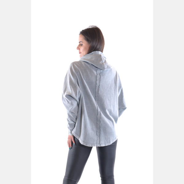 Grey Stone Washed Poncho Cut Cotton Women Hoodie - S-Ponder