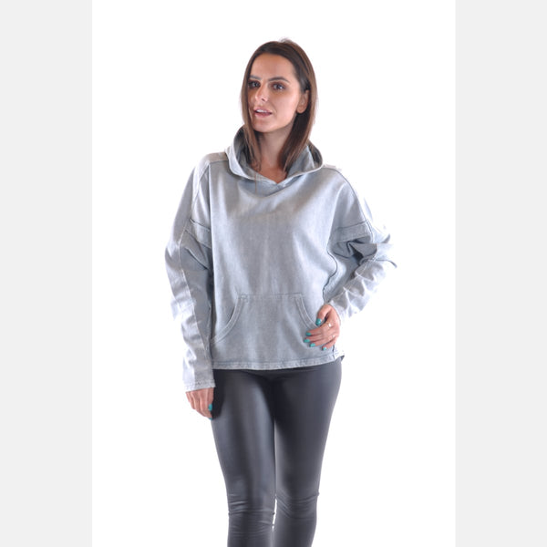 Grey Stone Washed Poncho Cut Cotton Women Hoodie S-Ponder